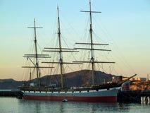 Barco pirata en muelle Imágenes de archivo libres de regalías