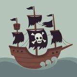 Barco pirata frecuentado asustadizo stock de ilustración