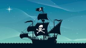 Barco pirata que navega 2 metrajes