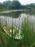 Barco por las cañas de la orilla del lago Fotos de archivo