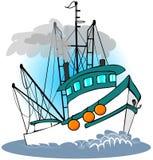 Barco rastreador de la pesca ilustración del vector