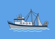 Barco rastreador de la pesca profesional Ejemplo plano del vector Aislado en fondo azul stock de ilustración
