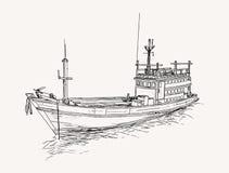 barco rastreador en el mar, bosquejo de la pesca Fotografía de archivo libre de regalías