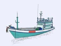 barco rastreador en el mar, vector de la pesca del bosquejo Fotos de archivo libres de regalías