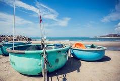 Barco redondo de Tradicional Vietnam fotografía de archivo