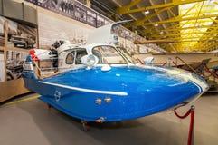 Barco retro da velocidade, a exibição do museu histórico, Rússia, Ekaterinburg, Verkhnyaya Pyshma, 04 03 2017 anos Imagens de Stock