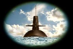 Barco submarino no mar Imagem de Stock Royalty Free