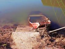 Barco submerso na costa fotografia de stock royalty free