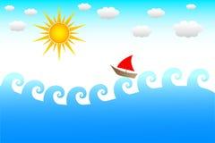 Barco uma onda Fotografia de Stock Royalty Free