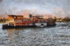 Barco a vapor no Nilo imagens de stock