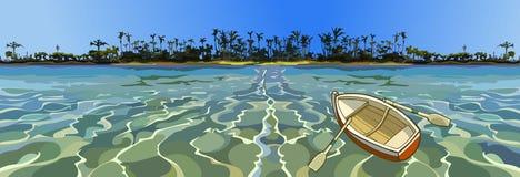 Barco vazio dos desenhos animados que flutua no mar fora da costa tropical Foto de Stock