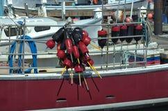 Barco vermelho com boias fotografia de stock royalty free
