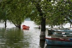 Barco vermelho no lago Fotos de Stock Royalty Free