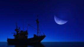 Barco y la luna Imagen de archivo