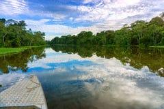 Barco y paisaje del Amazonas fotos de archivo libres de regalías