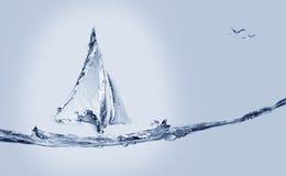 Barco y pescados de salto Foto de archivo libre de regalías