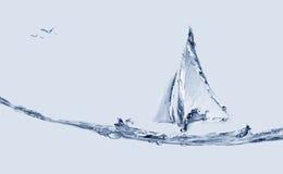 Barco y pescados de salto Fotos de archivo libres de regalías