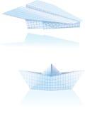 Barco y plano de papel Imagen de archivo