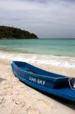 Barco y playa Fotografía de archivo