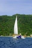 Barco y una isla imagen de archivo libre de regalías