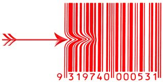 Red barcode with a arrow pushing left side Royalty Free Stock Photos