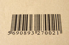 Barcode. Image of barcode on cardboard royalty free stock photo