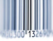 Barcode. Close up shot of Barcode. Blue toning. Focus on 13. Soft focus royalty free stock photo