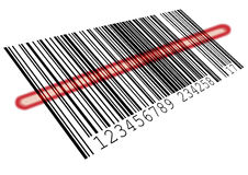 Barcode. Illustration of a barcode with a red scanning bar Royalty Free Stock Photo