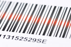 Barcode. In closeup with laser beam royalty free stock photography