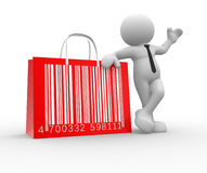 Barcode. 3d people - man, person with shopping bag and barcode ( bar code Royalty Free Stock Photography