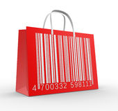 Barcode. 3d render - shopping bag and barcode.The discount offer Stock Image