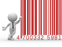 Barcode. 3d people - man, person with a bar code ( barcode Stock Photos