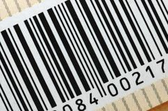Barcode. Macro printed on a box royalty free stock photography