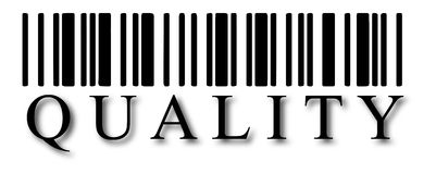 Barcode. Illustration detail of bar code with the word of quality Royalty Free Stock Photo