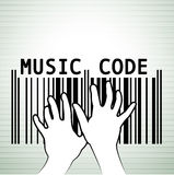 Barcode as music. Bar code in musical style. Vector  illustration Stock Photography