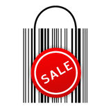 Barcode bag with sale sticker. Vector illustration of barcode shopping bag with Sale sticker Stock Photo