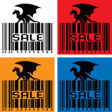 Barcode with black Dragon Stock Photos