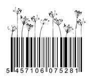Barcode black flowers Stock Photos