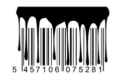 Barcode black paint drips Royalty Free Stock Image