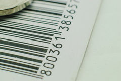 Barcode. Black and white barcode. Particular of a Barcode royalty free stock photo