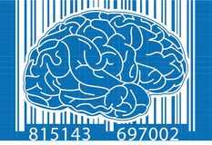 Barcode Brain Blue Fotografering för Bildbyråer
