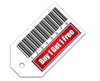 Barcode with Buy 1 Get 1 Free Stock Photography