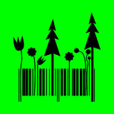 Barcode changing into forest shape Royalty Free Stock Photo