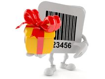 Barcode character holding gift. Isolated on white background royalty free illustration