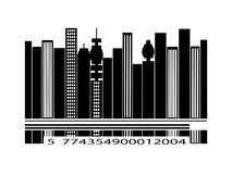 Barcode city silhouette over white background Royalty Free Stock Photo