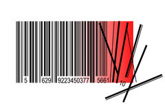 Barcode, crisis concept, isolated on white Stock Photos
