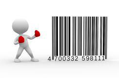 Barcode. 3d people - man, person - boxing barcodes concept Stock Photo