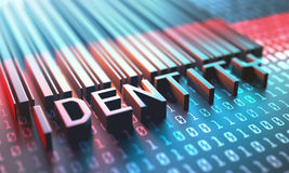 Barcode Digital Identity. 3d illustration of a laser scanner for a barcode with the word identity Stock Photography