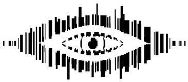 Barcode Eye Stencil. Barcode spy eye symbol stylized stencil black, vector illustration, horizontal, isolated, over white Royalty Free Stock Photos