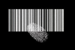 Barcode with fingerprint Stock Photo